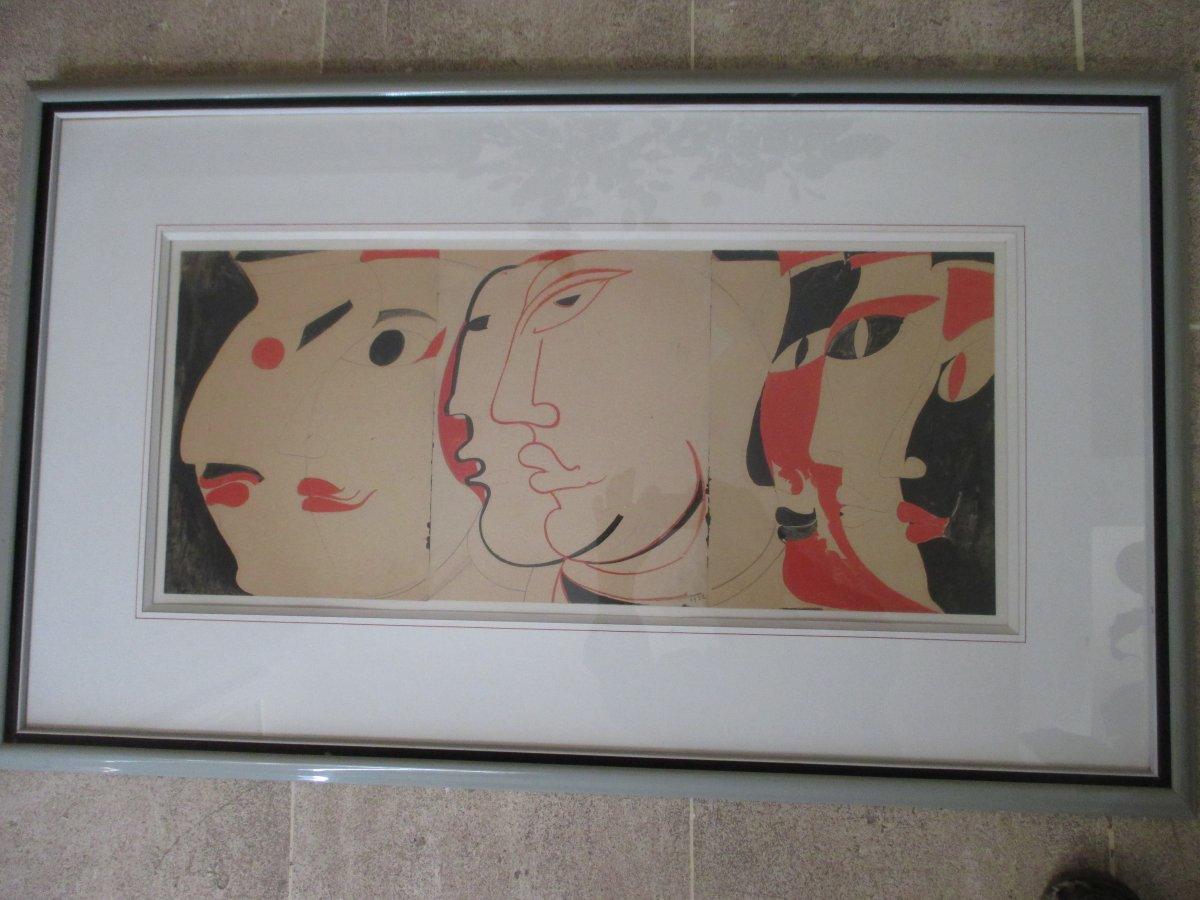 Waroquier (henri De ....) 1881 - 1970 - Three Watercolor Drawings