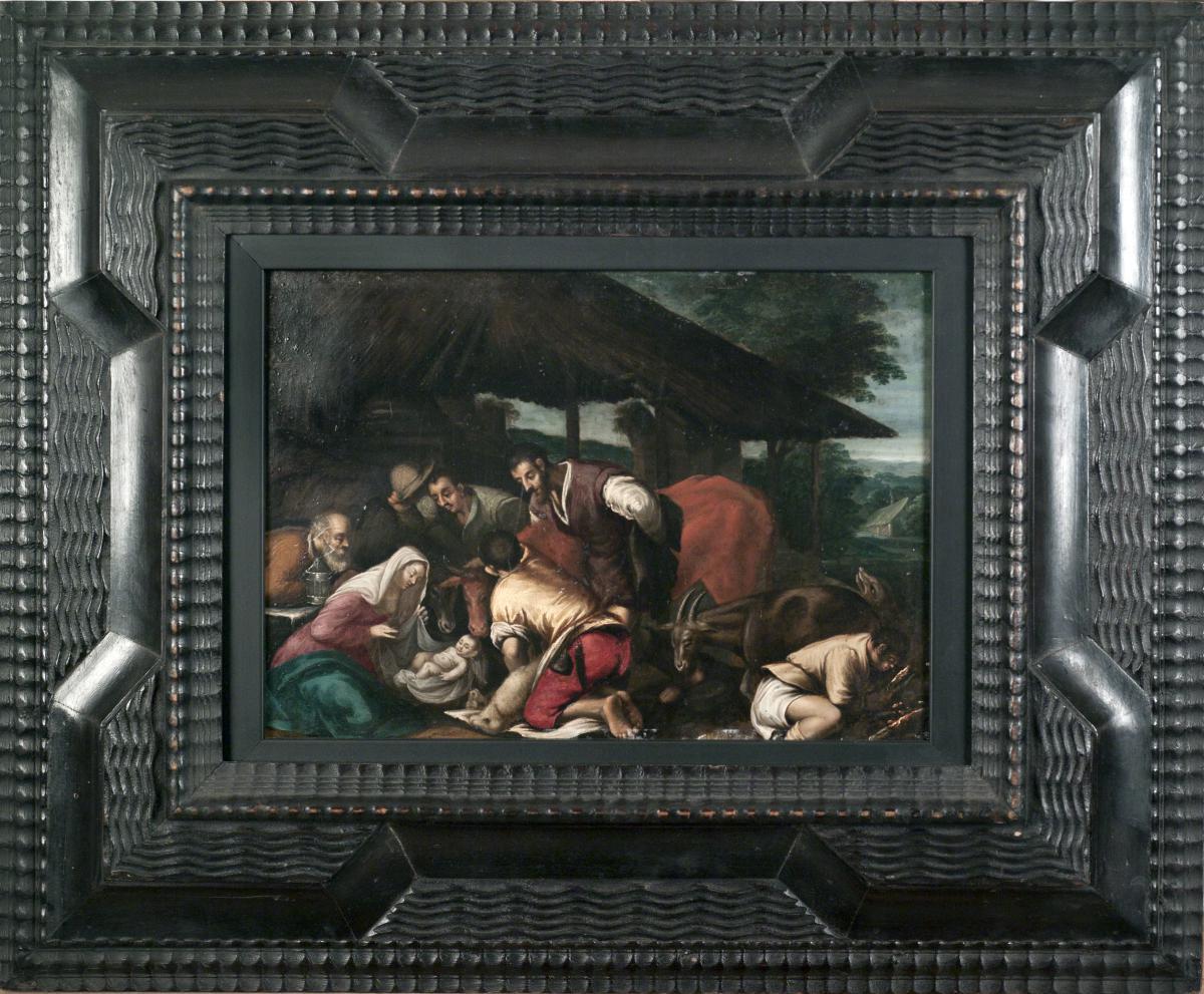 """Bassano J. et ses fils   """" l' Adoration Des Bergers """"   HUILE SUR CUIVRE"""
