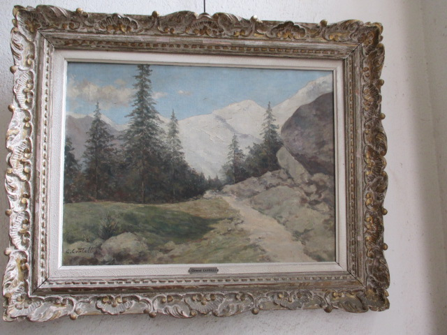 """Castelli Clement (1870-1959 )  Societe Des Peintres De Montagne - """" Route De Saas-fee """"    Hst"""