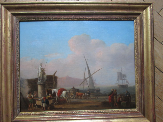 """ Port De La Mediterrannee "" Hst  XVIII°  Signé  Joseph  VERNET"