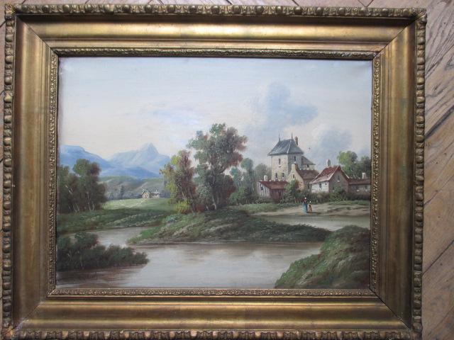 """ULRICH P. """" Maison Au Bord De La Riviere """" Hst   ( Ecole Suisse ) XIX°"""