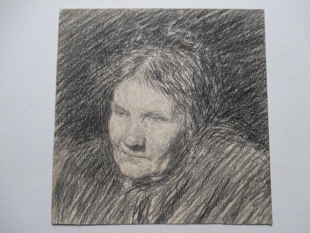 """""""portrait d'une vieille  dame """"    dessin  XIX°"""