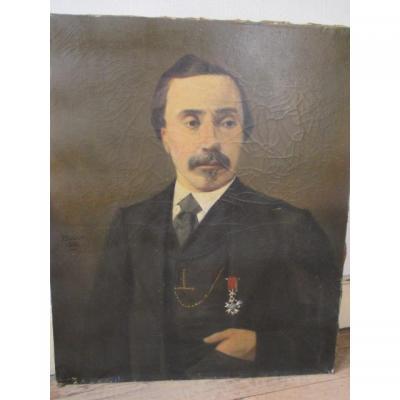 Portrait d'Un Notable   Hst  Signé Boude 1888