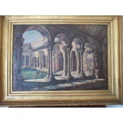 """Arles """" Sainte-trophime """" Grande Huile Sur Toile ,  début XX°"""