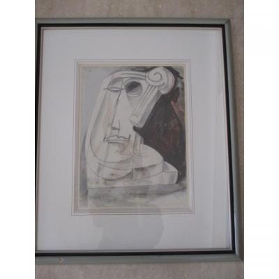 "Waroquier ( Henri De ... )  1881/1970    Dessin   "" Periode Cubique ""     """