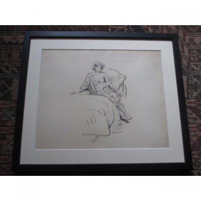 """Jeanniot Pierre-georges ( 1848-1934 ) dessin """" Le Reveil """""""