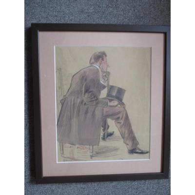 """Jeanniot Pierre-georges ( 1848-1934 )  dessin """" homme assis de profil """""""