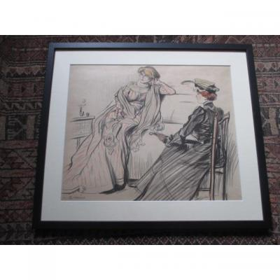 """Jeanniot Pierre-georges ( 1848-1934 )  dessin """"  Les  deux amies   """"l"""
