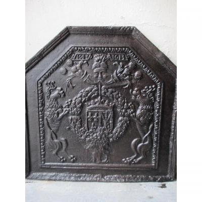 "Plaque Of Cheminee ""blazon And Heraldic Lions"""