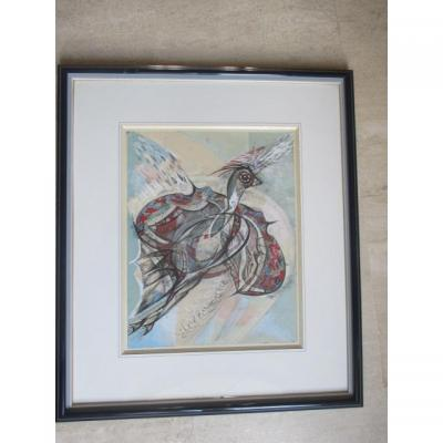"De Waroquier Henry ( 1881-1970 ) "" l'Oiseau ""   dessin aquarellé"