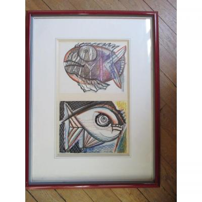 "From Waroquier Henry (1881-1970 "") Fish"" Drawing Watercolor"