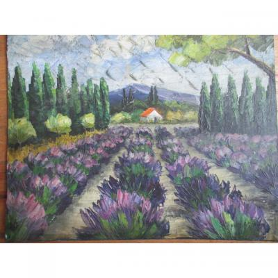 Agostini Max (1914-1997) Field Of Lavender Oil On Panel