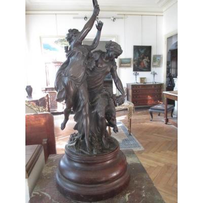 """Clodion  -  Bronze  """" Les Bacchanales """""""