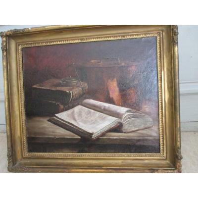 """Nature morte  """"   livres ,  chaudron et lampe a huile   """"   HST   XIX°"""
