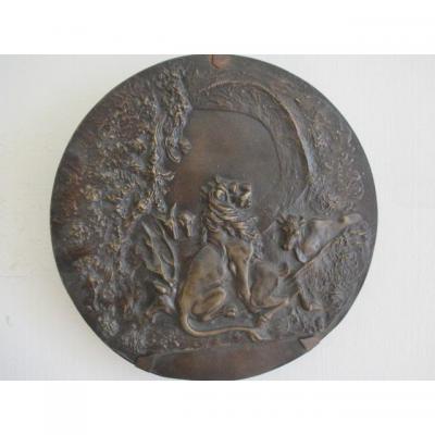 Medaillon  animalier en bronze