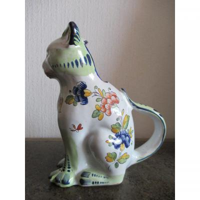 Pitcher Zoomorphe (cat With Armoieries De Boulogne) In Faience - North Of France