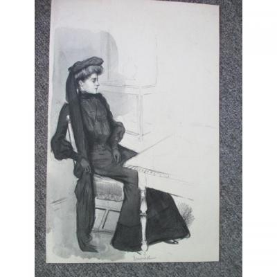 """Jeanniot Pierre-georges  ( 1848-1934 )   Dessin  """" Femme Assise """""""
