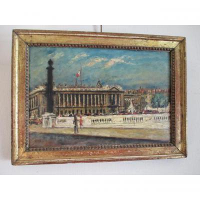 """EKEGARDH HANS (école suedoise 1881-1962)"""" Place de la Concorde """" huile sur panneau"""