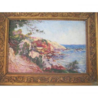 """Gaidan Louis ( 1847-1925 )   """" Paysage De Bord De Mer - Cote  d'Azur """"   Hst"""