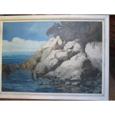 """Omer Francois ( 1878-1936 ) - école Avignonnaise  - """" Paysage Maritime""""  Hsp"""