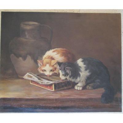 Deux  Chats    mangeant   Hst