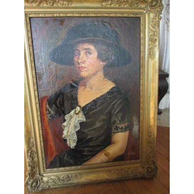 Portrait d'une dame de qualité   Hst  signée E.G.   Fin XIX° -début XX°