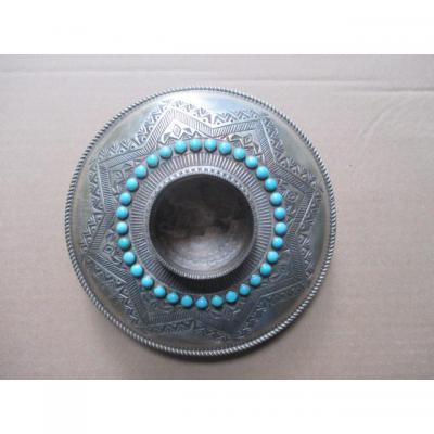 Vase En Bronze Argenté & Turquoises  -  Mexique XVIII°