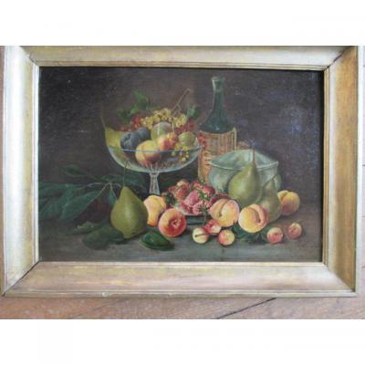 """Nature morte  """" Fruits...""""   HST   signé  A. PRIVAT  1912"""