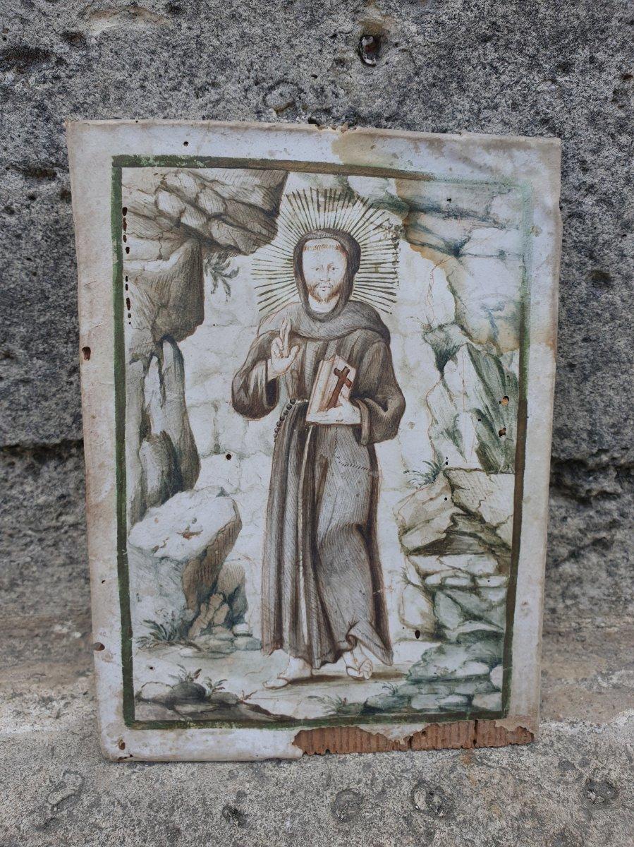 Enluminure ou ex voto St  François XVIeme Siecle