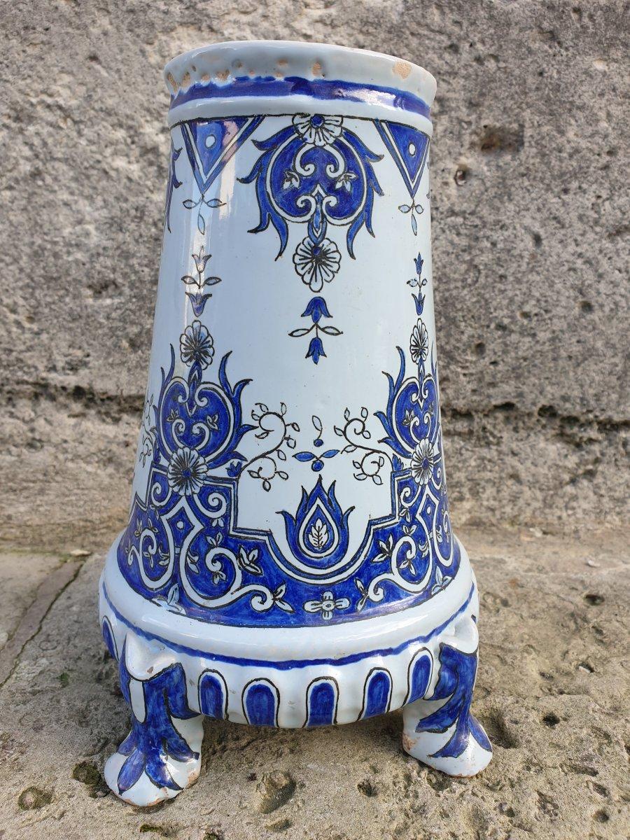 Rare Vase Porquier Beau à Quimper XIXeme