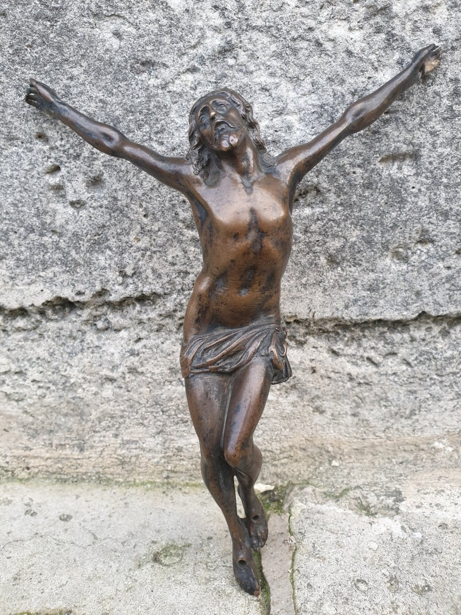 Powerful Christ E In Bronze, France Around 1600