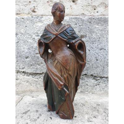 Holy Woman Carved In Linden France XVIth Century