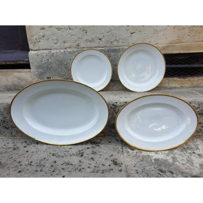 Beautiful Set Of 4 Porcelain Dishes From Nast, Directoire / Empire Period