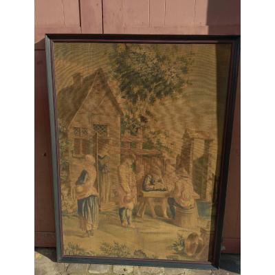 Very Beautiful Painted Canvas, Tavern, Large Size.