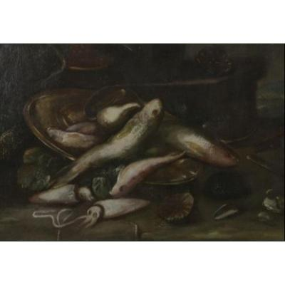 Still Life With Fishes, Oil On Canvas XVII Century