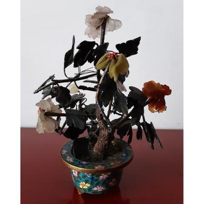 Cloisonne Vase Flower Tree In Carnelian And Jade