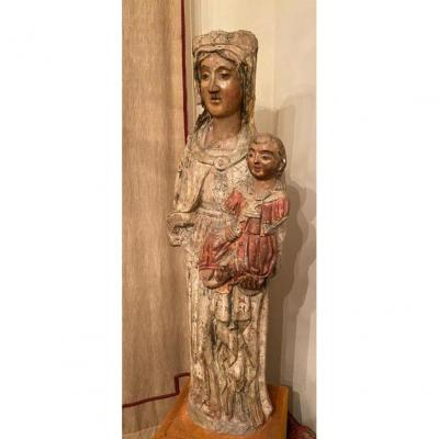 Virgin With Child Polychrome Sculpture - Mixed Art - Southern Italy 15th Century