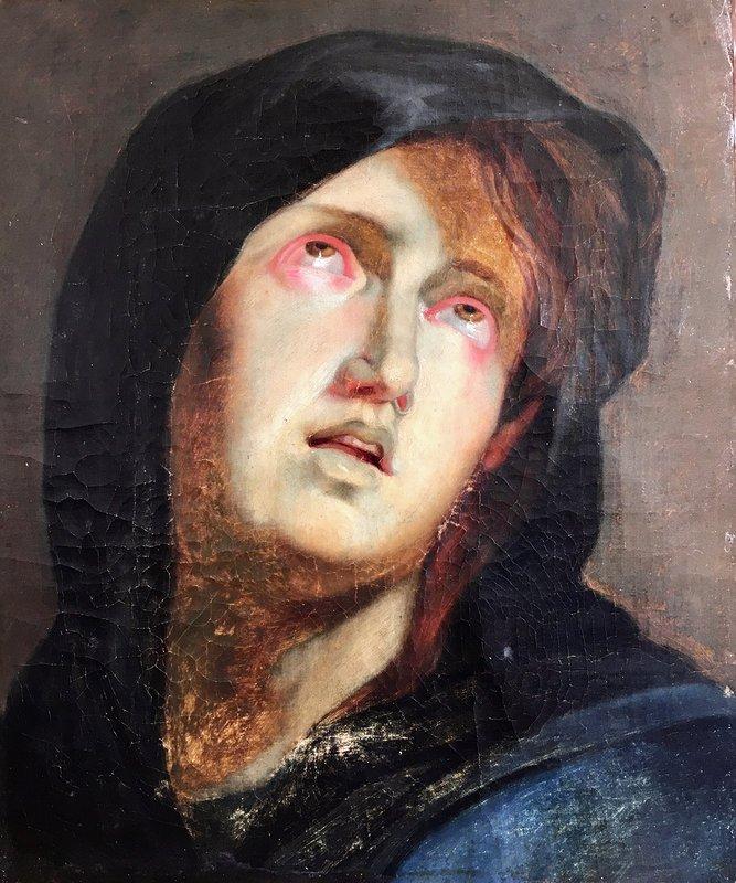 Tête De Vierge école Flamande  époque XVIIe Siècle