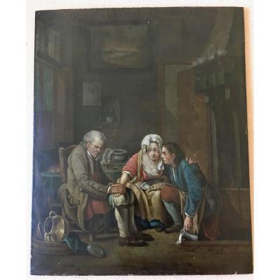 Entourage Jean Baptiste Greuze  (1725-1805) Huile Sur Panneau Du XVIIIème Siecle Signé Greuze