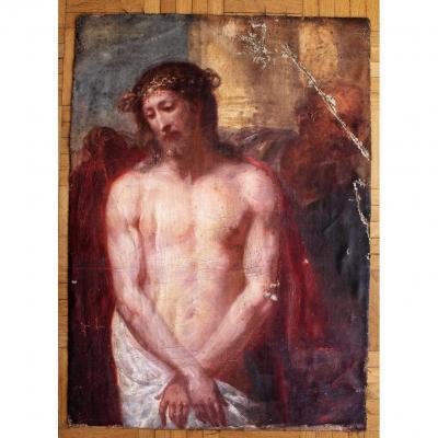 Ecce Homo Ecole Flamande Du XVIIème Dans Le Goût De Antoine Van Dyck