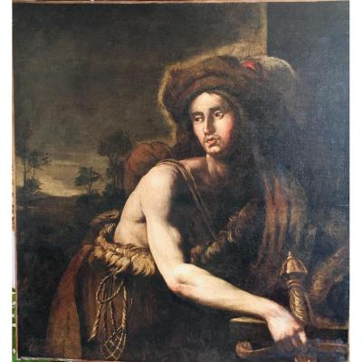 David Vainqueur De Golath. Peintre anonyme Du 17 ème siècle