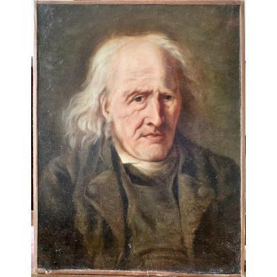 Portrait D'homme âgé Atelier De Jean Baptiste Greuze (1725-1805)