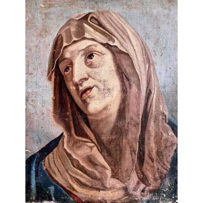 Visage De La Vierge . École Bolonaise Du XVIIe Siècle Suiveur De Guido Reni
