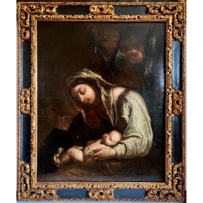 Vierge à L'enfant Et Deux Anges Début 17ème Siècle Entourage De Annibale Carrache (1560-1609)