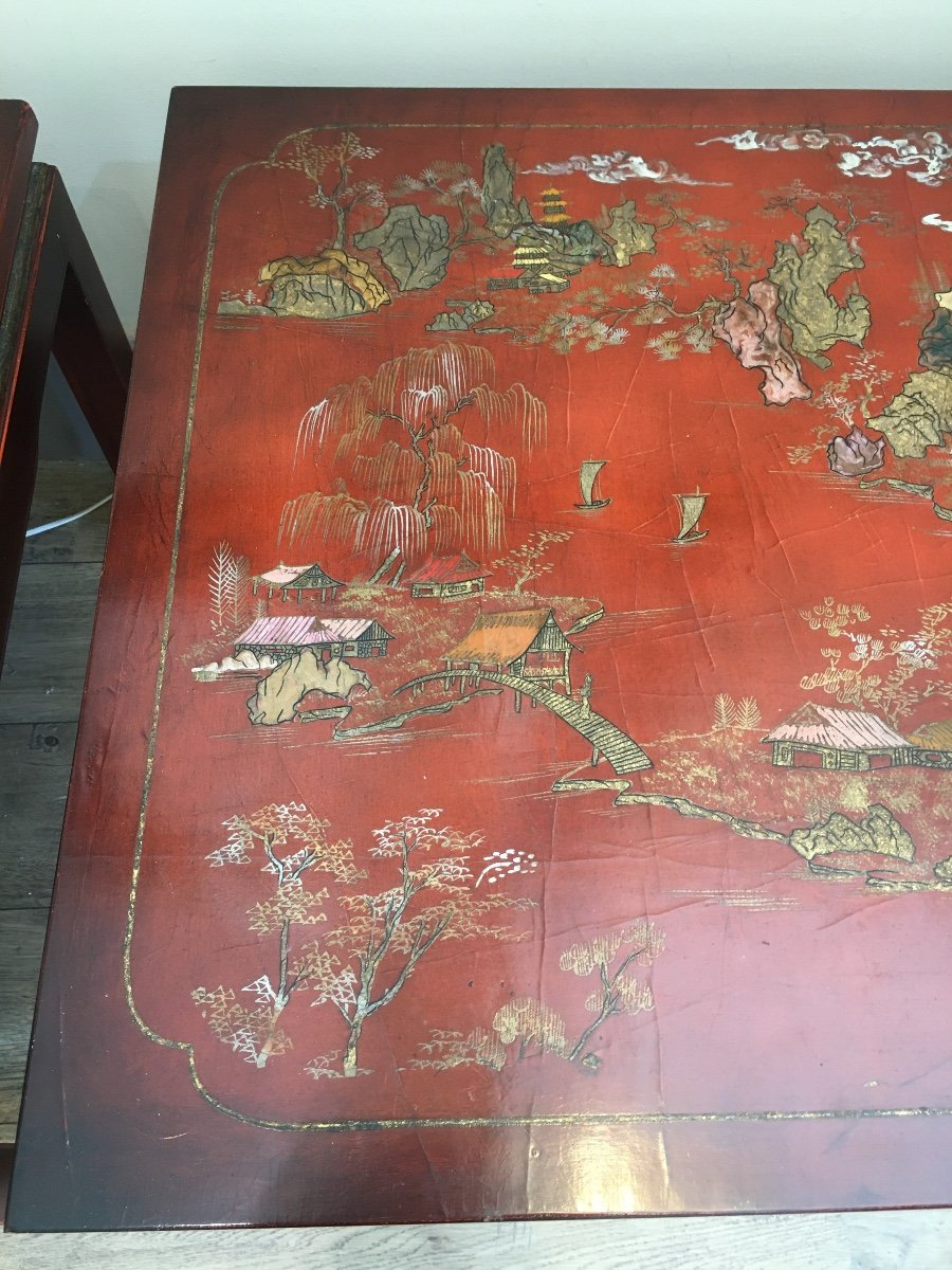 Pair Of China Tables XX Eme-photo-4