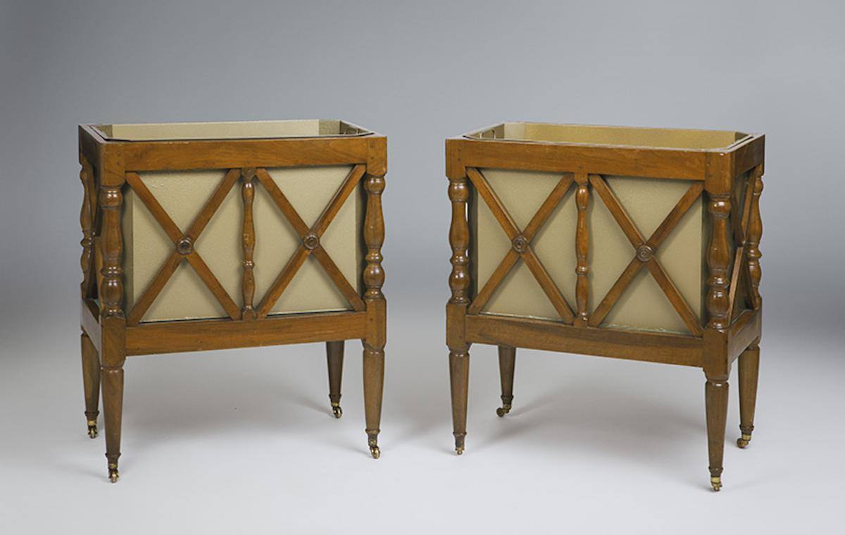 Pair Of French Jardinières In Walnut. Around 1840