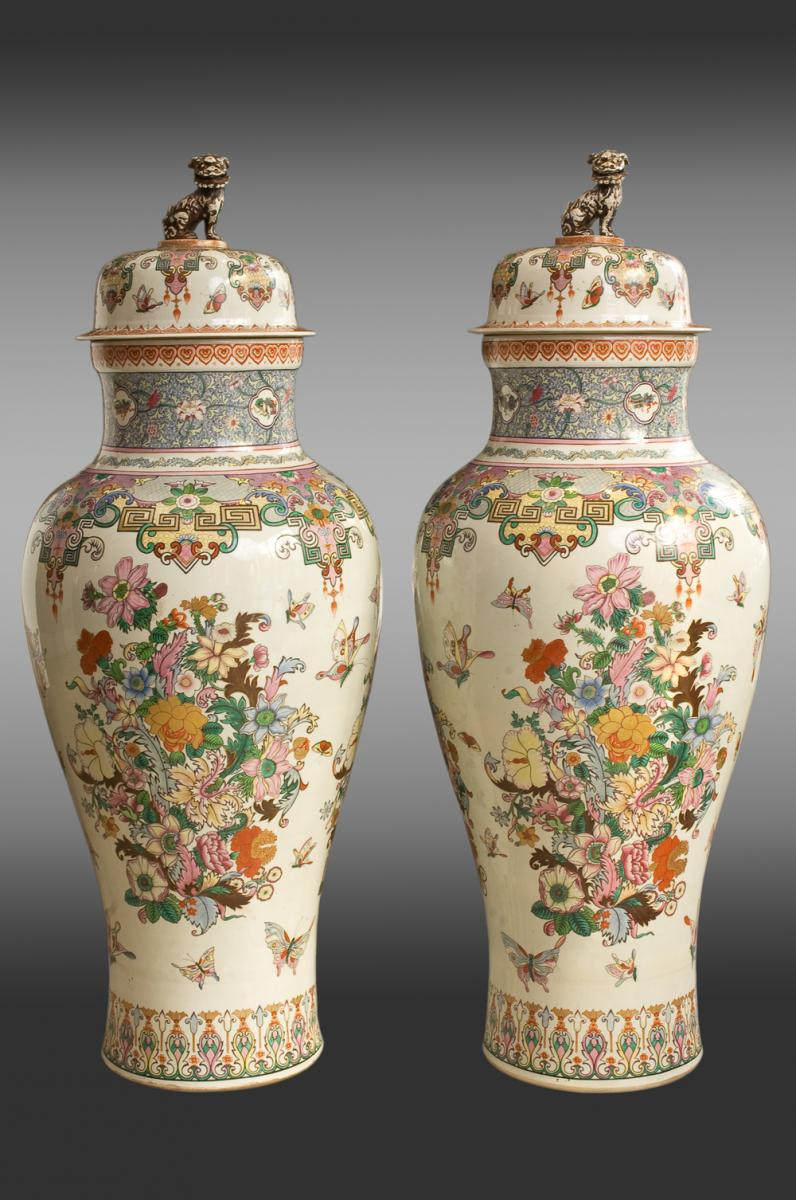 Pair Of Large Porcelain Tibor. Late 19th Century