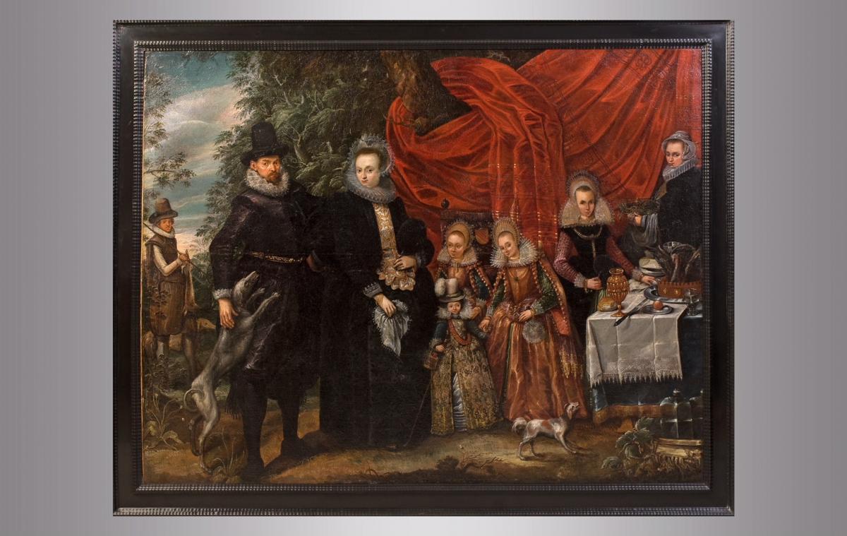 Portrait de une famille noble. Vers 1600. Ecole Holandaise.