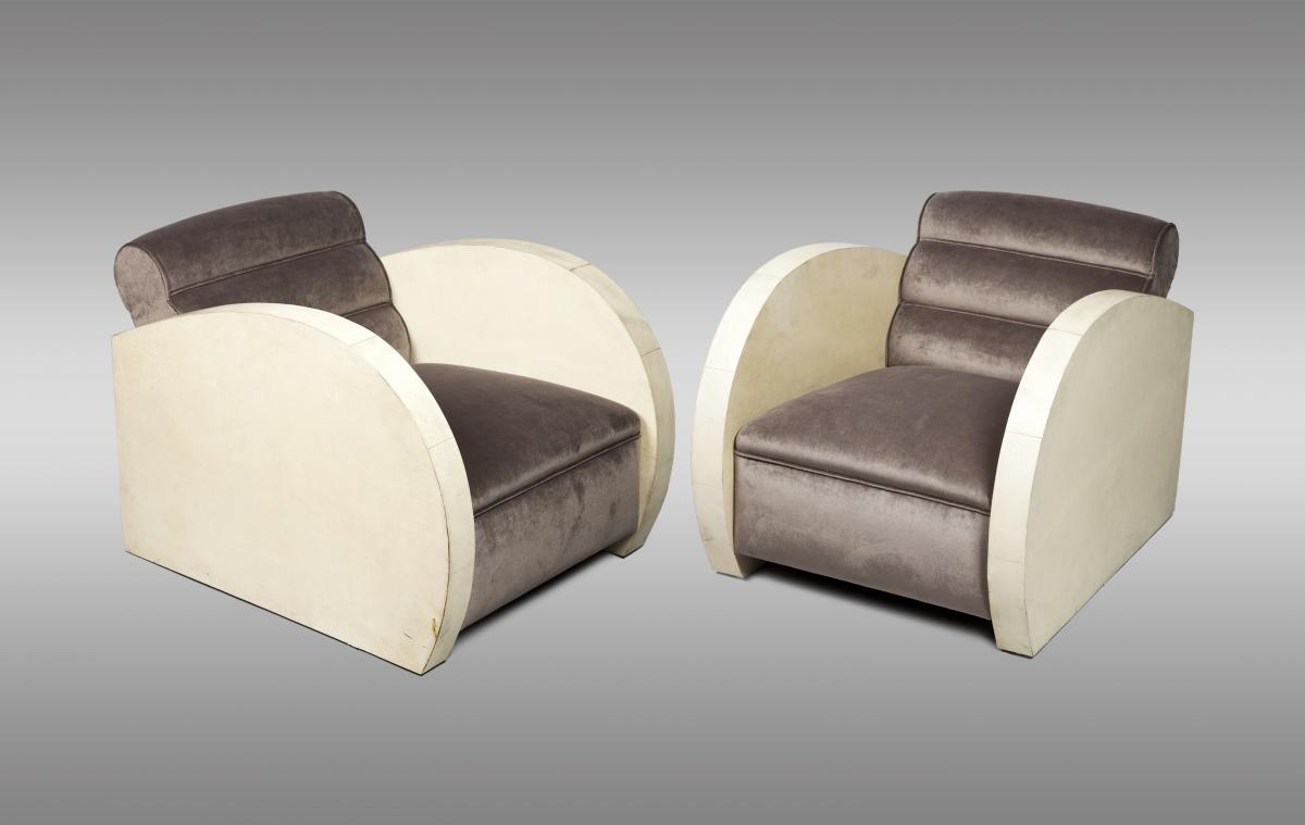 Art Deco Armchairs Wrapped In Parchment. Around 1940