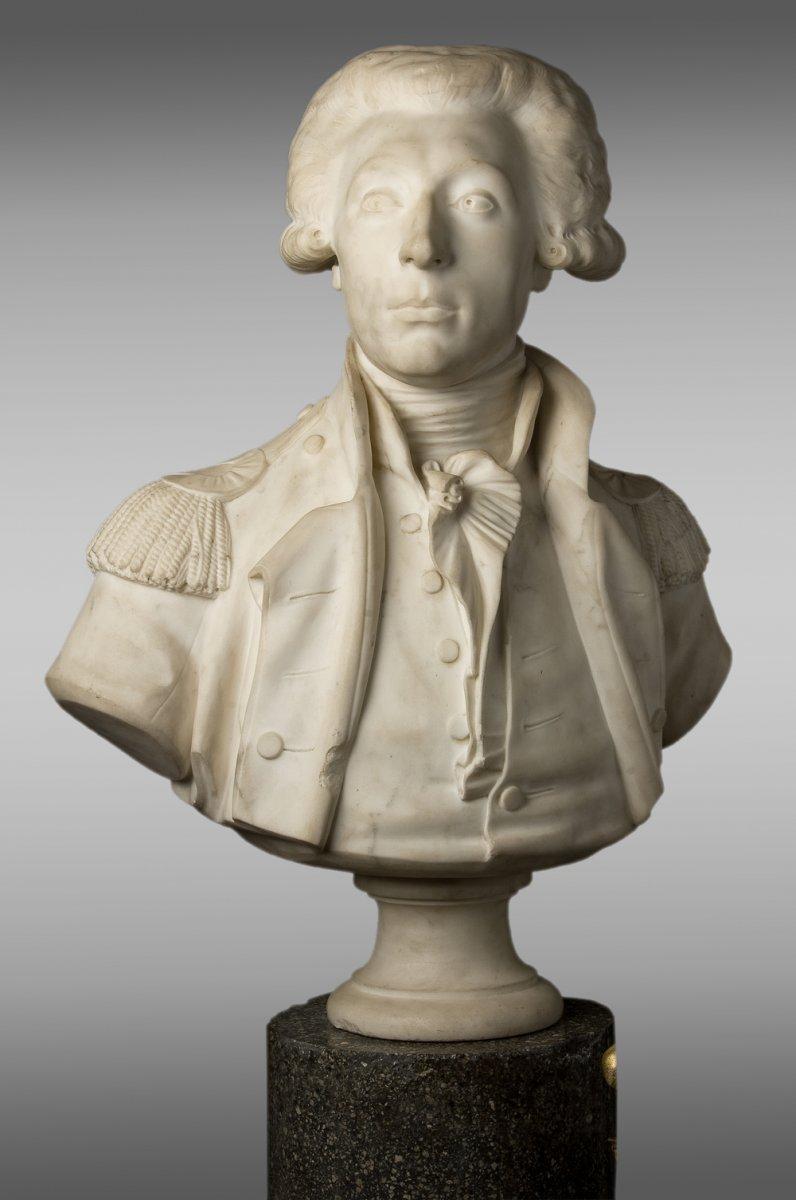 Buste en marbre de Carrare de Lafayette.
